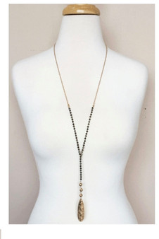 Beaded Y Drop Necklace-Black/Gold