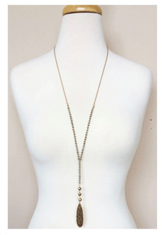 Beaded Y Drop Necklace-Gray/Gold
