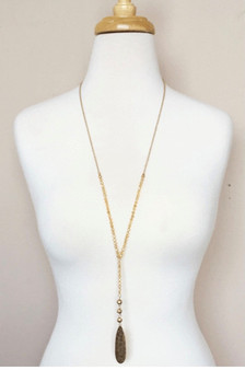 Beaded Y Drop Necklace-Gold
