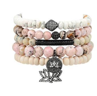 Marshmallow Pink -Pave Charms and Beads Bracelet