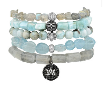Destiny Blue- Aquamarine,Labradorite Beaded Bracelet
