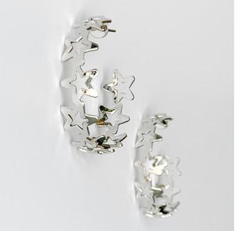 Star Struck Hoop Earrings-Silver