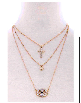 3 Chain  Layered  Cross  Heart  Eye Pendant  METAL NECKLACE