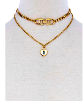 2 Chain  Layered  Cross  Heart  Lock Necklace-Gold