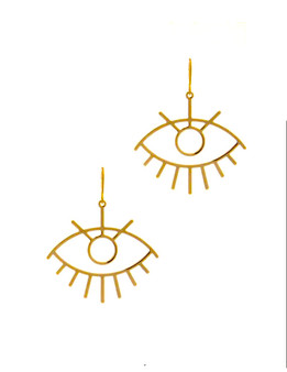 Evil Eye Drop Hoops -Gold