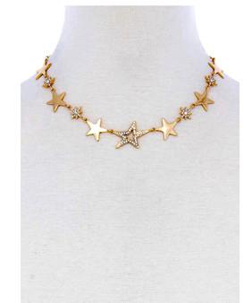 Rhinestone Star Choker-Gold