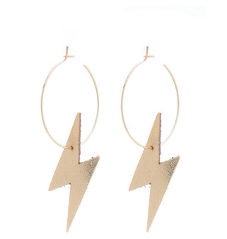 Faux Leather Lightning Hoop Earrings -Gold
