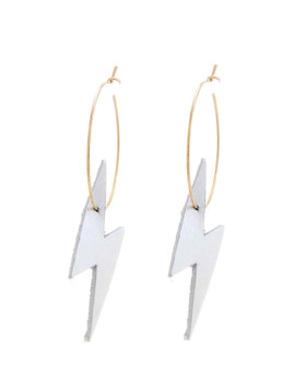 Faux Leather Lightning Hoop Earrings -Silver