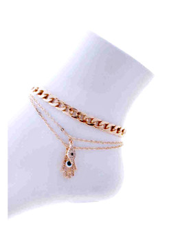 Evil Eye  Chain Link  Ankle Bracelet-Gold