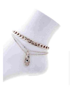 Evil Eye  Chain Link  Ankle Bracelet-Silver