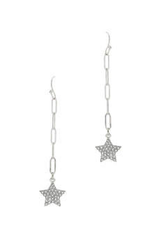 Little Star Rhinestone Link Earrings-Silver