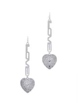 Love  Your Heart  Drop Earrings-Silver