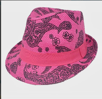 Cecily Summer Straw  Hat-Pink Paisley