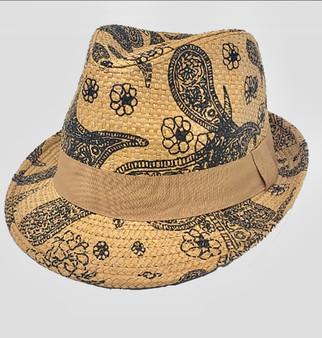 Cecily Summer Straw  Hat-Tan Paisley