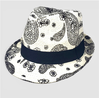 Cecily Summer Straw  Hat-White Paisley