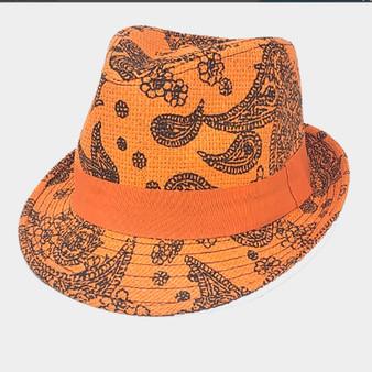 Cecily Summer Straw  Hat-Orange Paisley