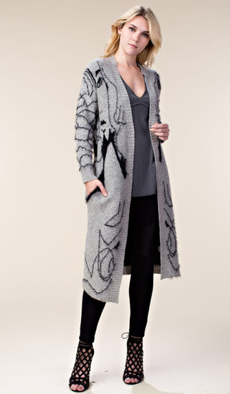 Graphic Styled Cardigan-Gray/Black