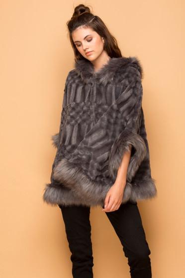 Lana Faux Fur Hooded Shawl