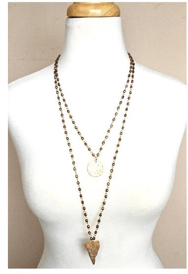 Druzy Lariat Long Necklace-Rose Gold