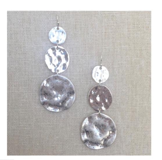Hammered 3 Tier Drop Earrings-Silver