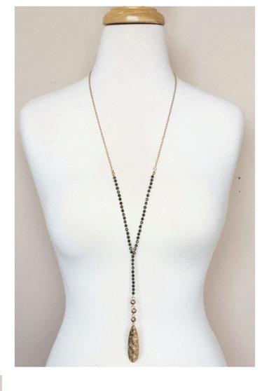 Beaded Y Drop Necklace-Black/Gold