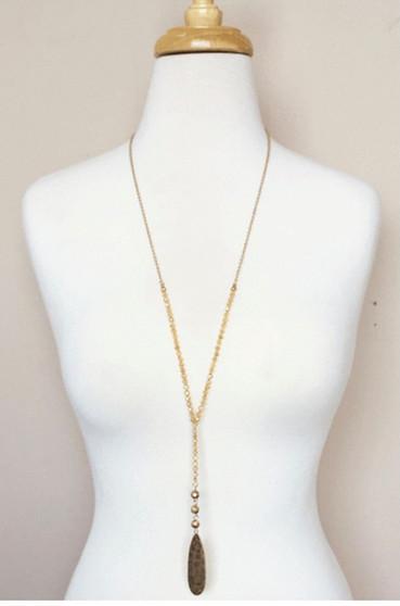 Beaded Y Drop Necklace-Gold