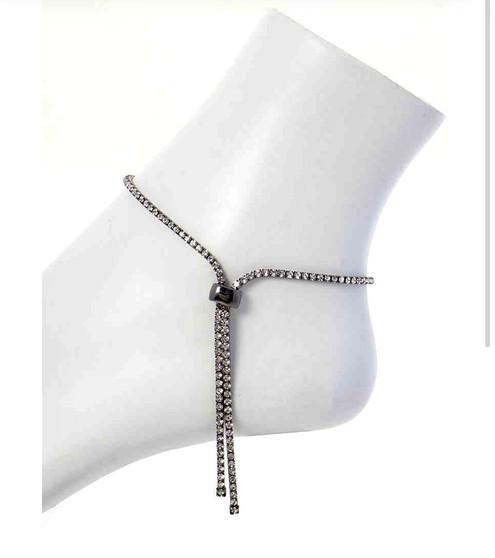 Adjustable Rhinestone Ankle Bracelet-Rhinestone