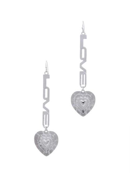 Love  Your Heart  Drop Earrings-Silver