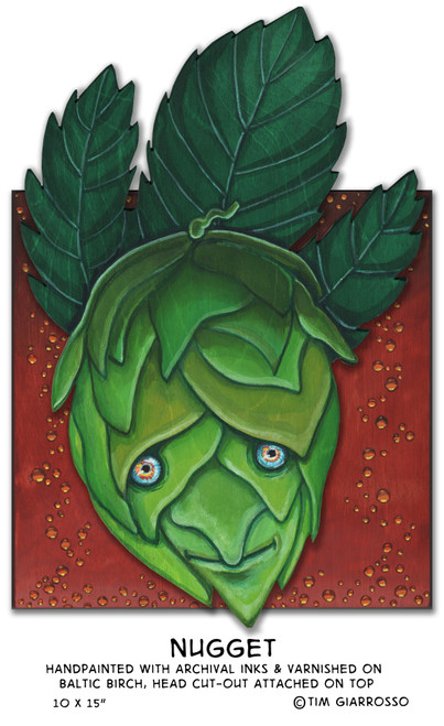 Original Wall Art. Nugget is a beer hop bud thats painted on 2 layers of cut out baltic birch plywood with permanent ink dyes and then varnished 4 times with a furniture grade clear varnish. The wood grain itself is enhanced by this process so that the waves rise up through the inks to add another element to the visual image.