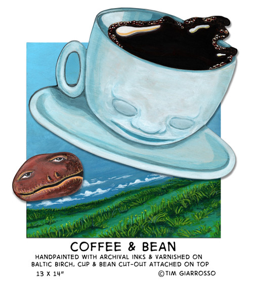 Coffee & Bean hand-painted original art on two layers of wood then varnished