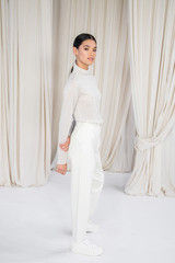 White: Scanlan Leather High Waist Trouser