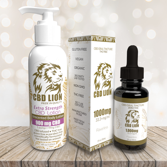 CBD LION 1000mg Tincture and 900mg Lotion Combo