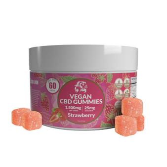 1500mg CBD Gummies - Strawberry 60 Pcs