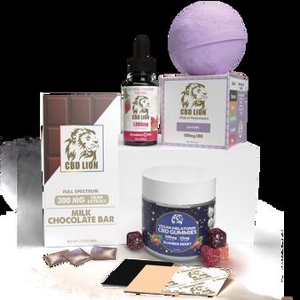 Mother's Day Gift Bundle 2 - 500mg CBD Melatonin Gummies, 300mg Milk Chocolate, 1000mg CBD Strawberry Tincture, 100mg Lavender Bath Bombs, 40mg CBD Patches