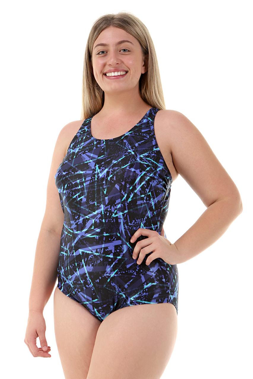 Nova Swimwear Girls Knee Length Blue Leopard 1 Piece Chlorine Resistant Swimsuit