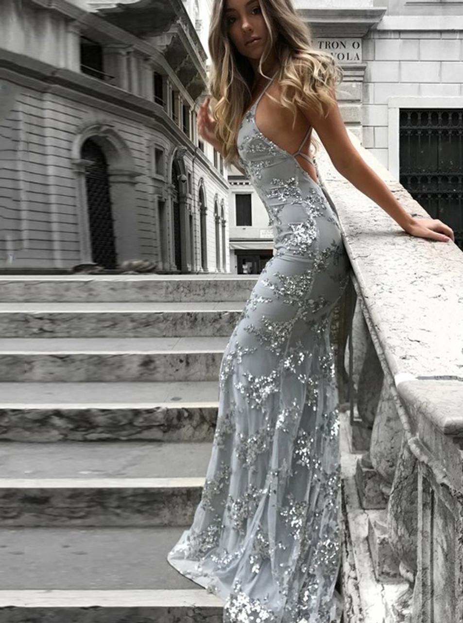 Silver Mermaid Prom Dress