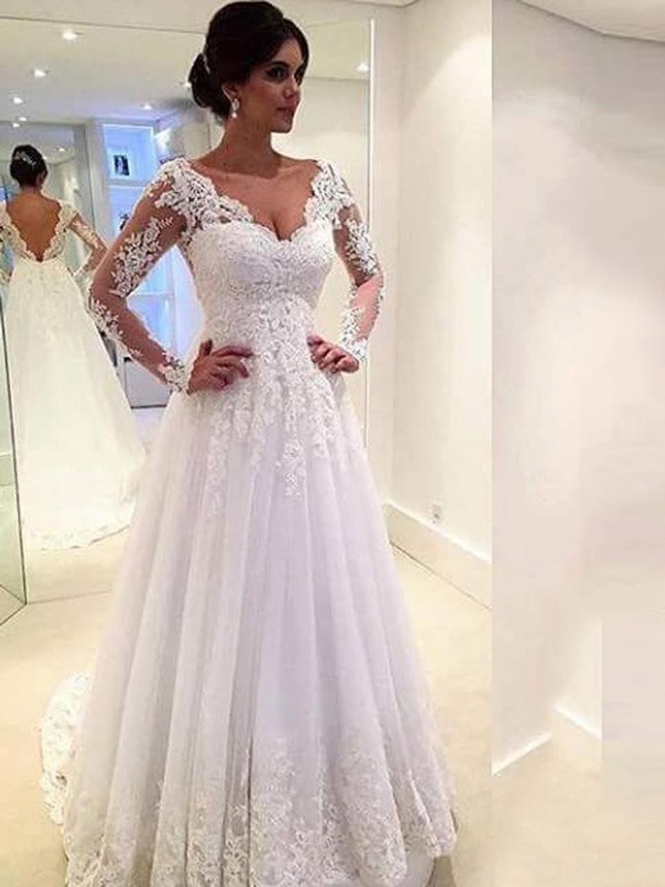 Shop New Arrival V neck Long Sleeves Lace Ball Gown Tulle Wedding ...