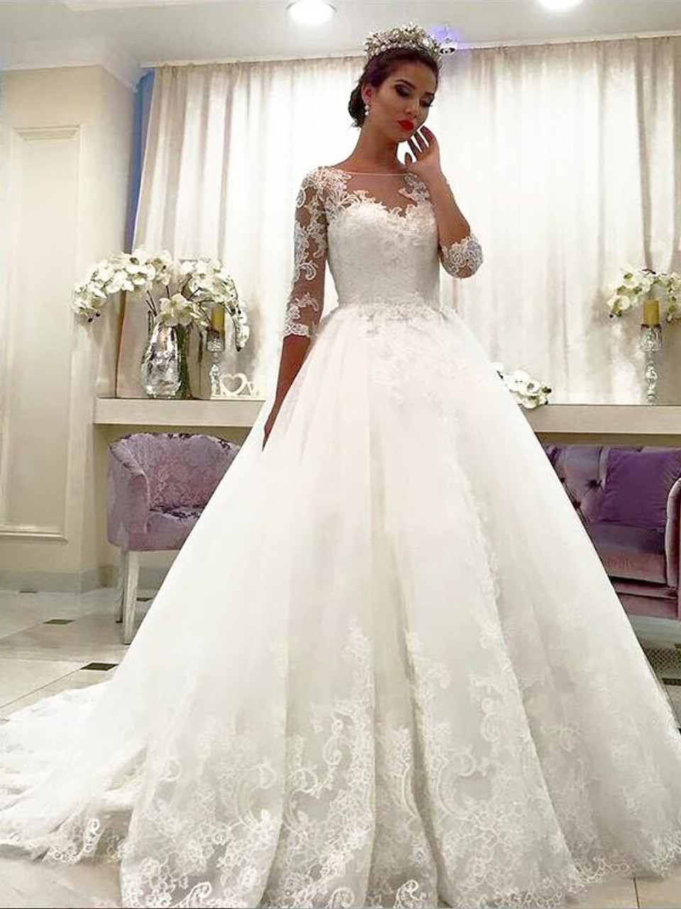 Shop New Arrival Bateau Lace Ball Gown Tulle 20/20 Sleeves Wedding ...