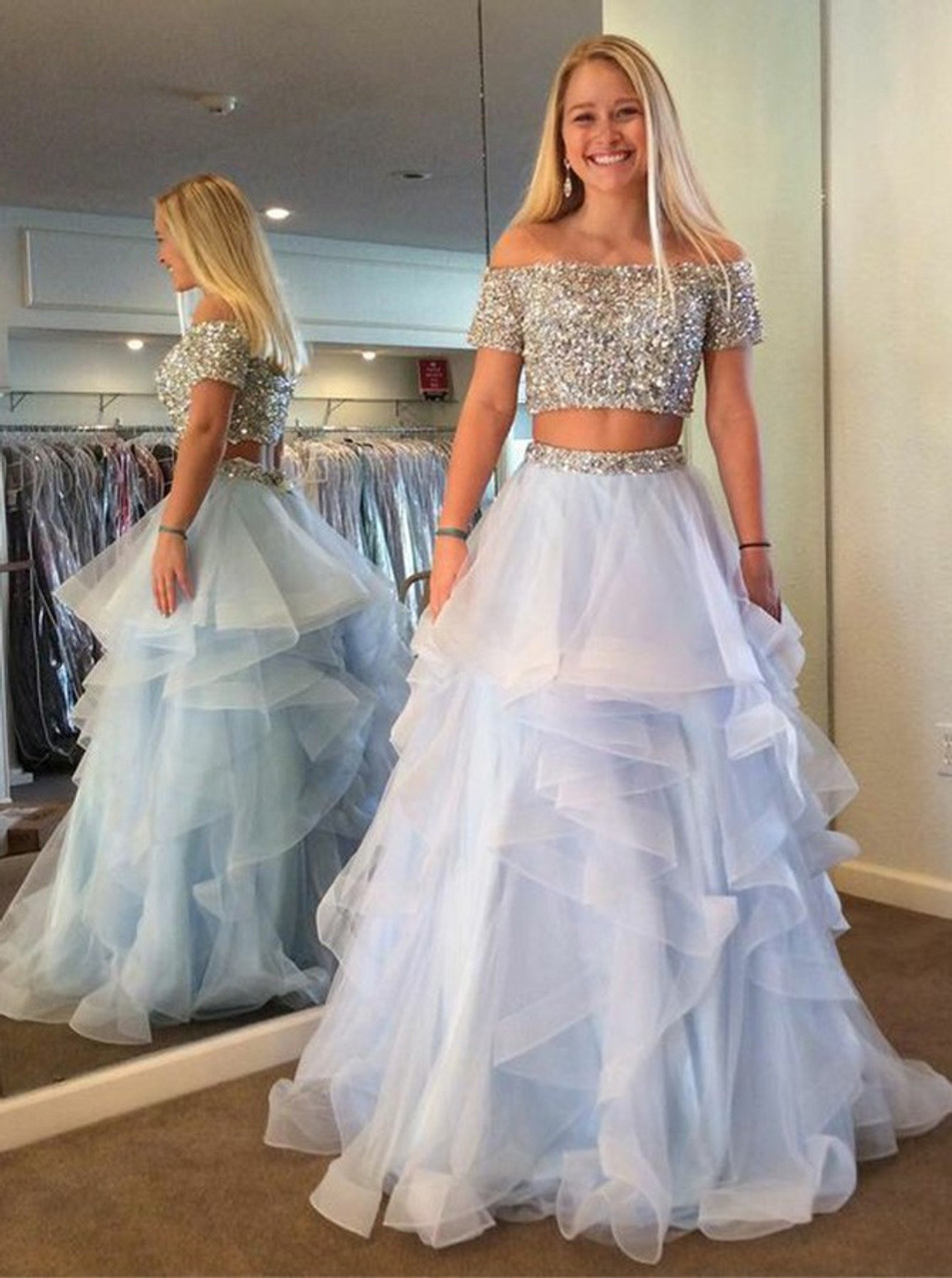 92a7b704483b Two Piece Off Shoulder Tiered Beading Blue Tulle Prom Dress