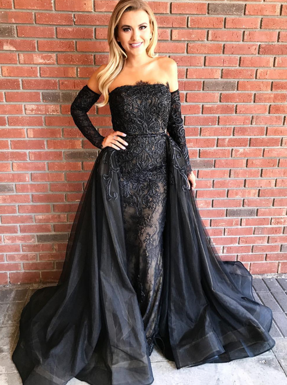 9862581ae6828c Detachable Train Sheath Long Sleeves Black Tulle Prom Dress
