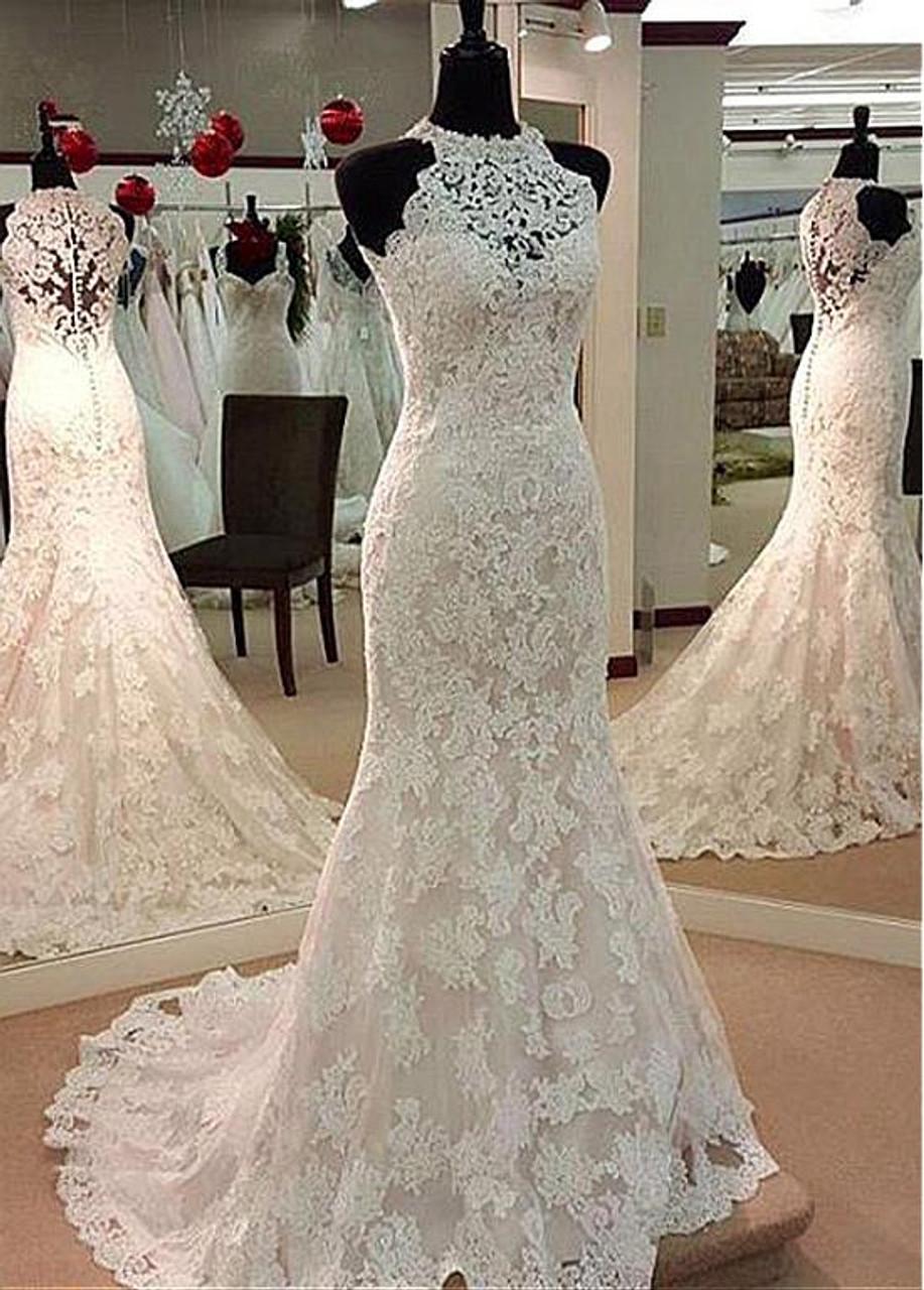 High Neck Mermaid Wedding Dress With Beadings