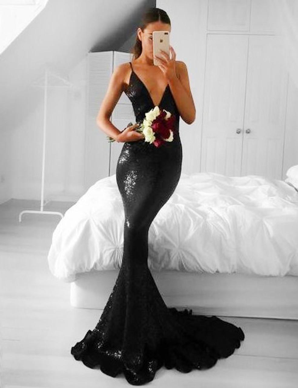 Mermaid V Neck Sleeveless Long Black Sequin Prom Dress