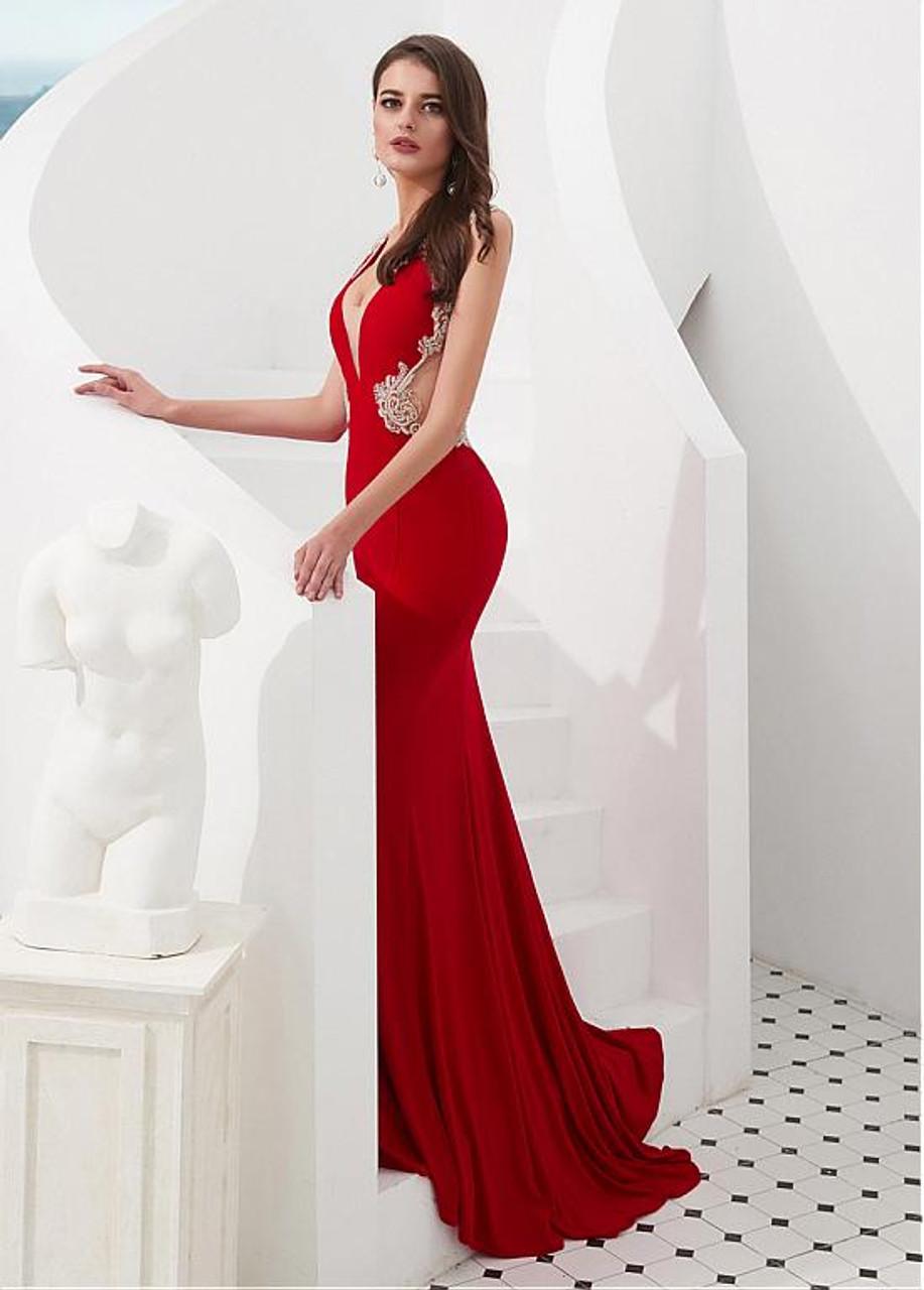 Red Satin   Tulle V-neck Beading Mermaid Evening Prom Dress 9b217d426