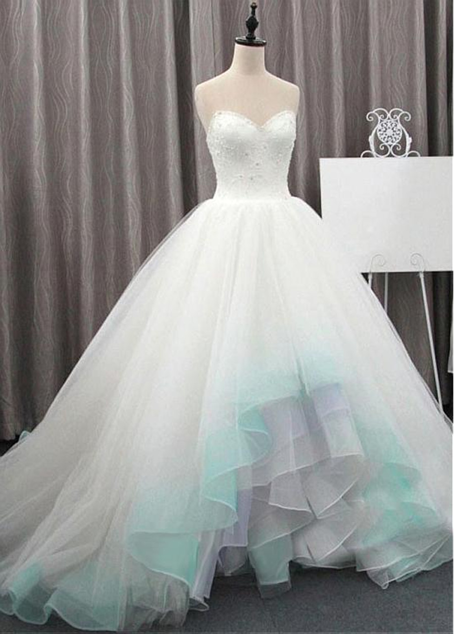 High Low Tulle & Organza Sweetheart 20D Flowers Ball Gown Wedding Dress