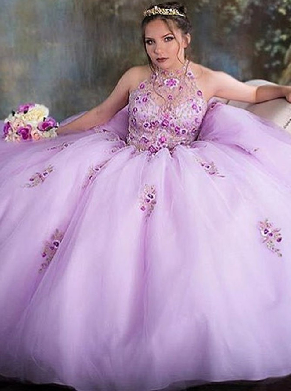 a99fec2e3c2 Appliques Ball Gown Jewel Pink Tulle Quinceanera Dress