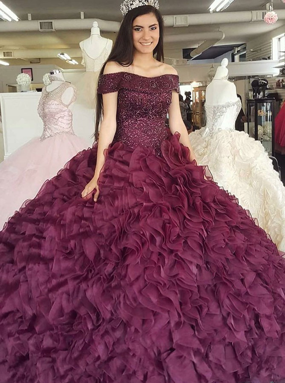 56b88ddd8634e Burgundy Organza Ball Gown Off-the-Shoulder Quinceanera Dress with Beading