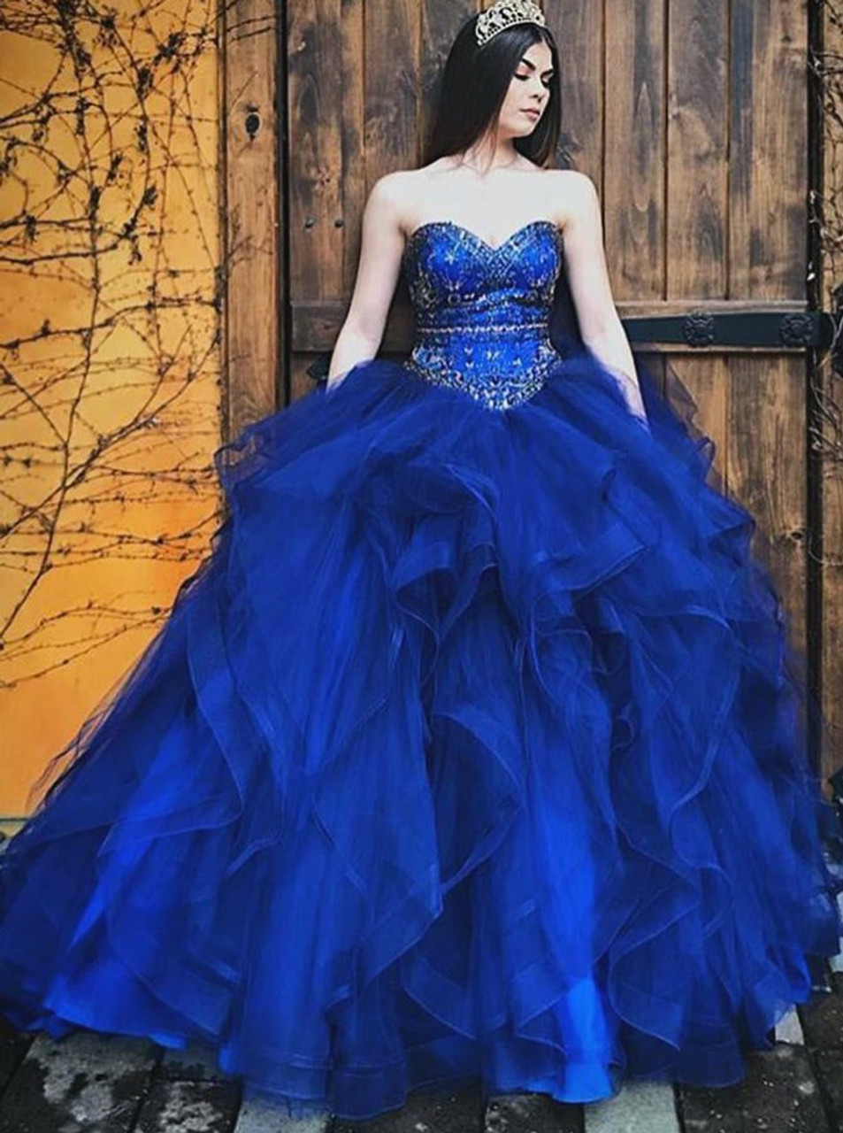 f51173bbb3d Ball Gown Beading Sweetheart Royal Blue Tulle Quinceanera Dress