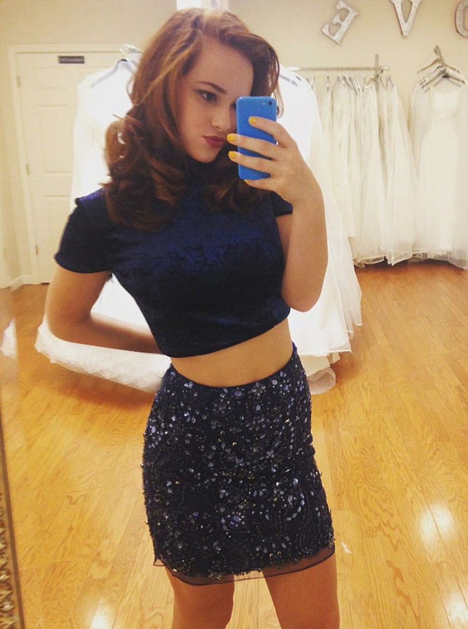 3fbc2215552 Navy Blue Two Piece High Neck Homecoming Dress with Beading