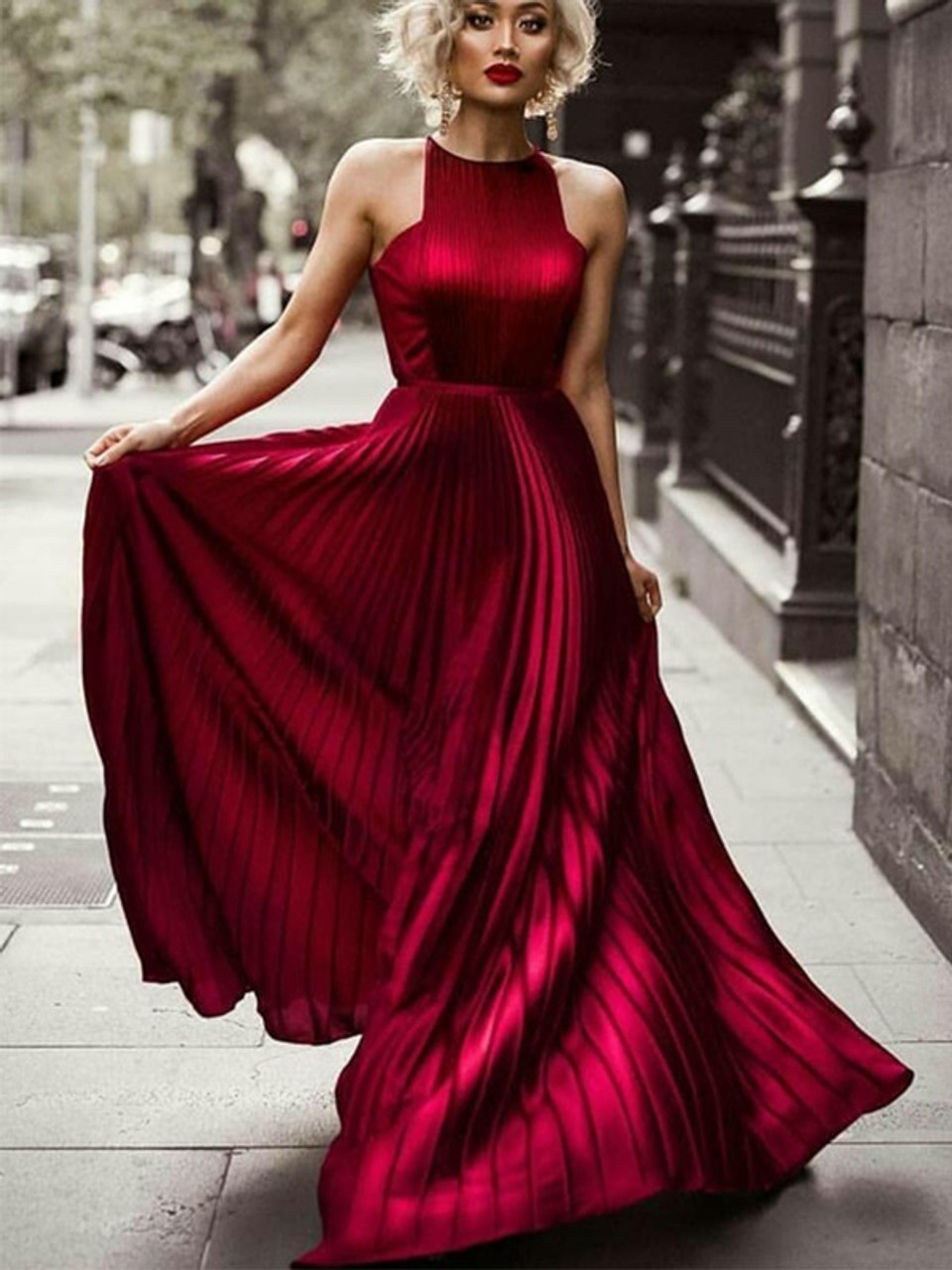 7a92abeaab A-Line Princess Halter Burgundy Red Ruched Silk like Satin Prom Dress