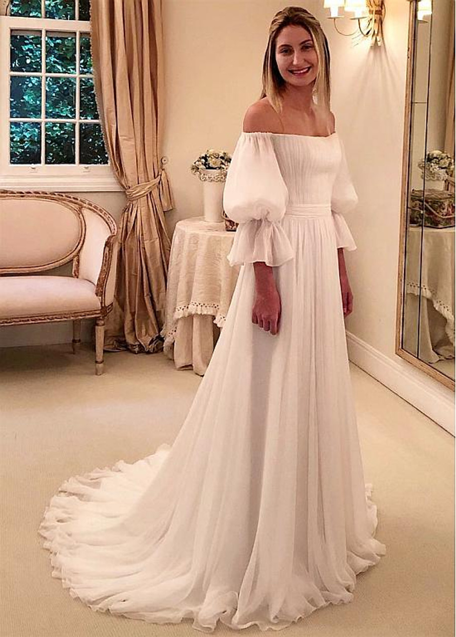A Line Chiffon Off The Shoulder Wedding Dresses With Puff Sleeves